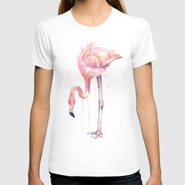 Flamingo Watercolor Painting Pink Tropical Birds Facing Left T-shirt