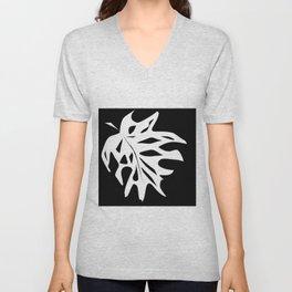 A white sheet of monstera on black background . Unisex V-Neck