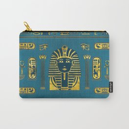 Gold Sphinx head with Egyptian hieroglyphs on blue leather Carry-All Pouch
