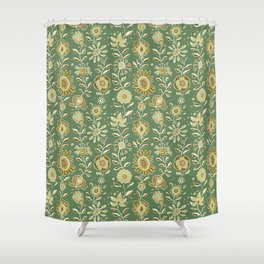 wonky wildflower waterfall ... tan & greens Shower Curtain