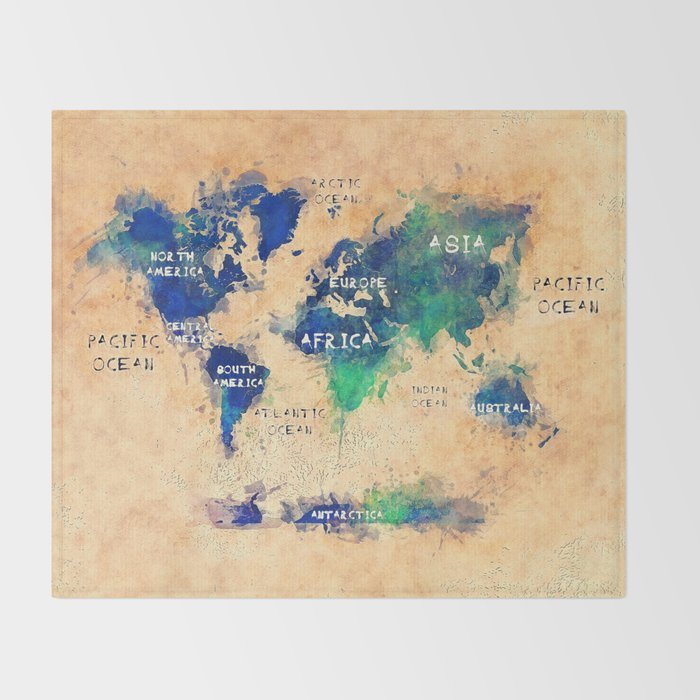 World Map Oceans And Continents 4 Throw Blanket By Jbjart Society6