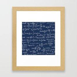 Math Equations // Navy Framed Art Print