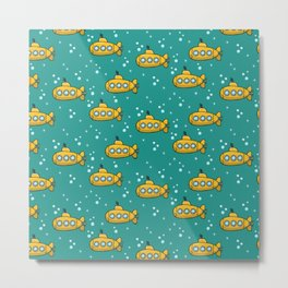 Yellow submarine - teal sea  Metal Print