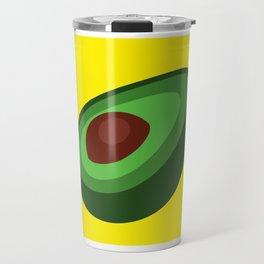 Green Avocado On Yellow Background Art Simple Colourful Decor Gift Idea Travel Mug