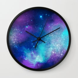 Metatron's Cube on Watercolor Background Wall Clock