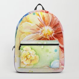 Flowers Watercolor Floral Colorful Rainbow Painting Backpack