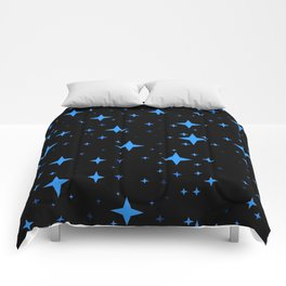 Bright Blue  Stars in Space Comforters
