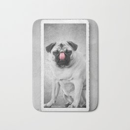 Lick Cute Pug Dog Licking Nose Bath Mat