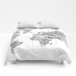 Gray watercolor world map with countries Comforters