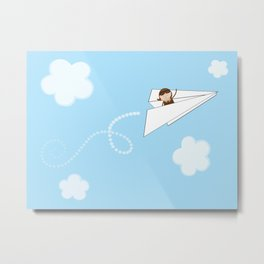 Paper Aeroplane Pilot Metal Print