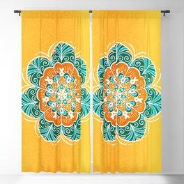 Blue, Orange & Yellow Flower Mandala Blackout Curtain