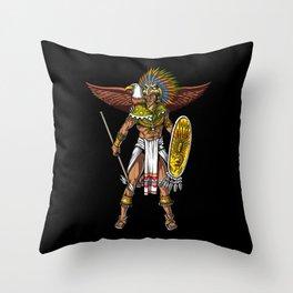 Aztec Eagle Warrior Native Indian Mexican Throw Pillow