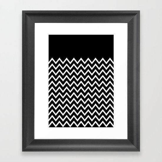 White Chevron On Black Framed Art Print