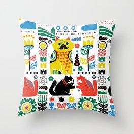 Scandinavian Cats Throw Pillow