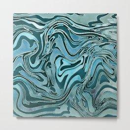 Liquid Glamour Luxury Turquoise Teal Watercolor Art Metal Print