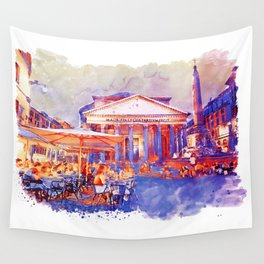 The Pantheon Rome Watercolor Streetscape Wall Tapestry