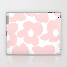 Large Baby Pink Retro Flowers on White Background #decor #society6 #buyart Laptop & iPad Skin