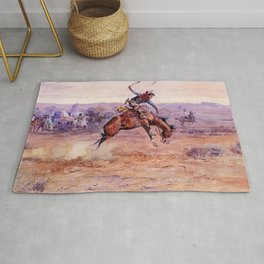 """Bucking Bronco"" by Charles M Russell Rug"