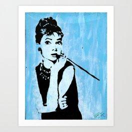 Audrey in Blue Art Print
