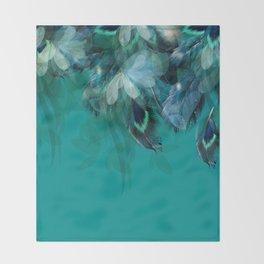 DREAMY FEATHERS & LEAVES - Deep Cyan Throw Blanket