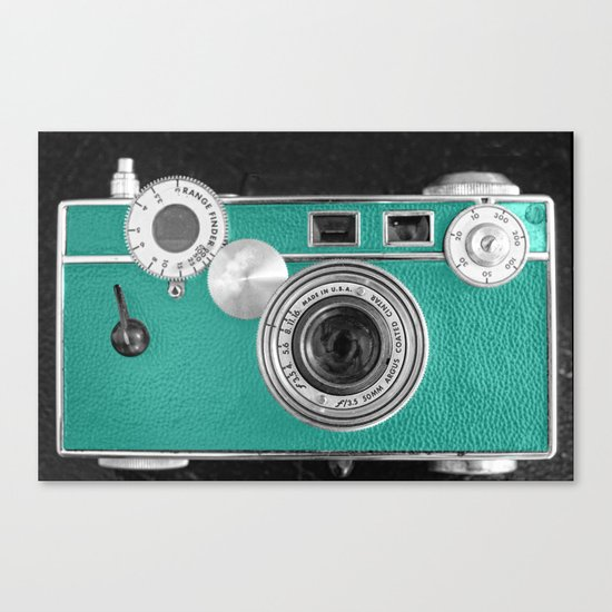 Teal retro vintage phone Canvas Print