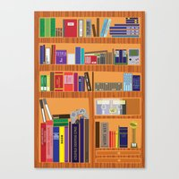 video game Canvas Prints featuring Video Game Geek's Bookshelf by ambivalentpress