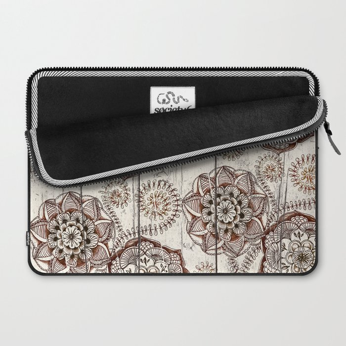 Coffee & Cocoa - brown & cream floral doodles on wood Laptop Sleeve