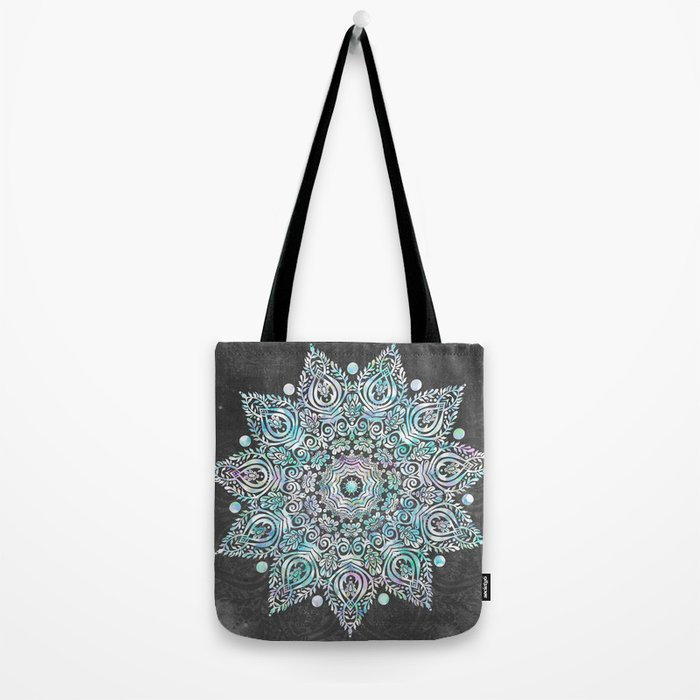 Mermaid Mandala on Deep Gray Tote Bag