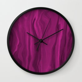 Marblesque Bright Pink 1 - Abstract Art Marble Series by Jennifer Berdy Wall Clock