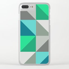 Triangles in turquoise Clear iPhone Case