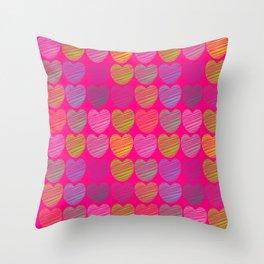 neon hearts  Throw Pillow