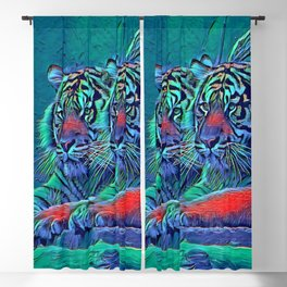 AnimalBlue_Tiger_001_by_JAMColors Blackout Curtain