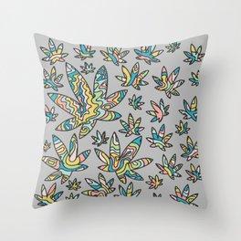 Pastel Cannabis Swirl Throw Pillow