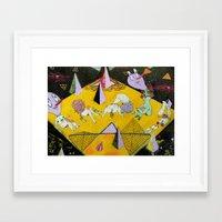 plain Framed Art Prints featuring space plain by Kira Leigh