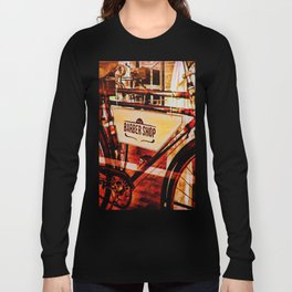 Barber shop vintage photograph of an antique bicycle Long Sleeve T-shirt