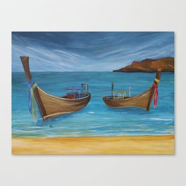 Longtailboats In Turquoise Water Canvas Print