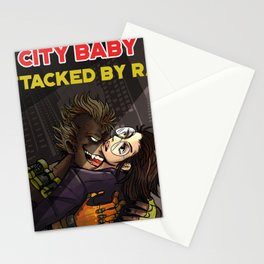 City Babe Attacked by Rat Stationery Cards