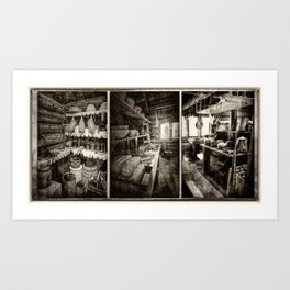 Vintage Kitchen Sepia Art Print