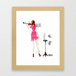 The Violin Player - Fashion Illustration Framed Art Print