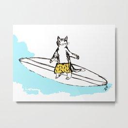Surf Cat Metal Print