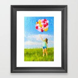 A Menina dos Balões Coloridos Framed Art Print
