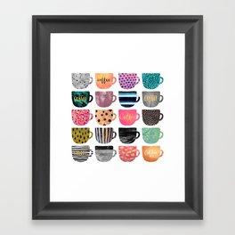 Pretty Coffee Cups Framed Art Print