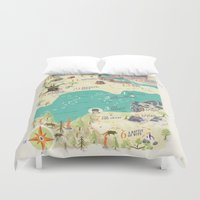 princess bride Duvet Covers featuring Princess Bride Discovery Map by Wattle&Daub