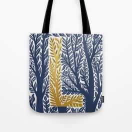 Botanical Metallic Monogram - Letter L Tote Bag