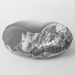 Misty clouds over the mountains in black and white Floor Pillow