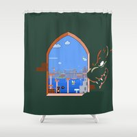 mario bros Shower Curtains featuring Our Hero Approaches (Green Background) - Mario Bros. by Studio Momo╰༼ ಠ益ಠ ༽