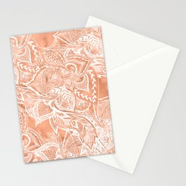 Modern tan copper terracotta watercolor floral white boho hand drawn pattern Stationery Cards