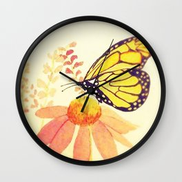 Butterfly on Coneflower in Summer by Twelve Little Tales Wall Clock