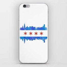 Chicago Flag Skyline Watercolor iPhone Skin