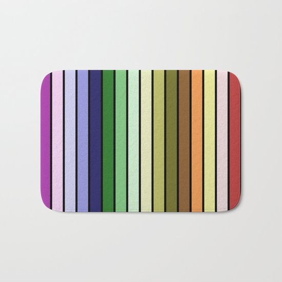 MULTICOLORED STRIPES (abstract pattern) Bath Mat
